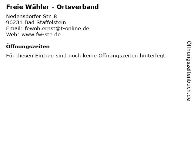Freie Wähler - Ortsverband in Bad Staffelstein: Adresse und Öffnungszeiten