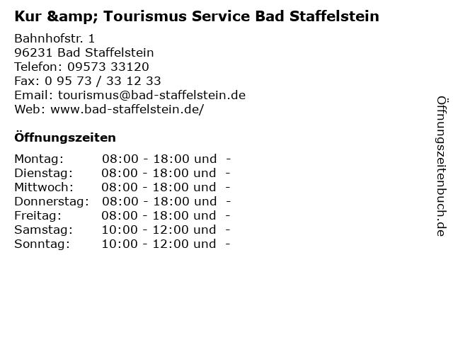 Kur & Tourismus Service Bad Staffelstein in Bad Staffelstein: Adresse und Öffnungszeiten
