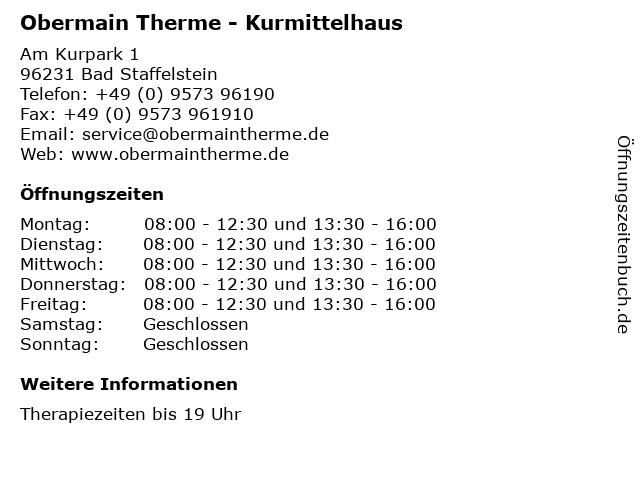 Obermain Therme - Kurmittelhaus in Bad Staffelstein: Adresse und Öffnungszeiten