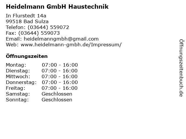 Heidelmann GmbH Haustechnik in Bad Sulza: Adresse und Öffnungszeiten