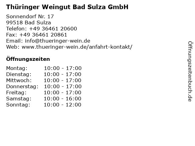 Thüringer Weingut Bad Sulza GmbH in Bad Sulza: Adresse und Öffnungszeiten