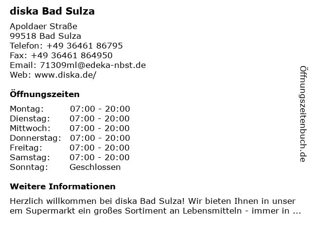diska Bad Sulza in Bad Sulza: Adresse und Öffnungszeiten