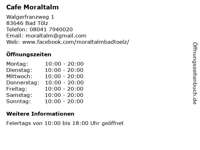 Cafe Moraltalm in Bad Tölz: Adresse und Öffnungszeiten