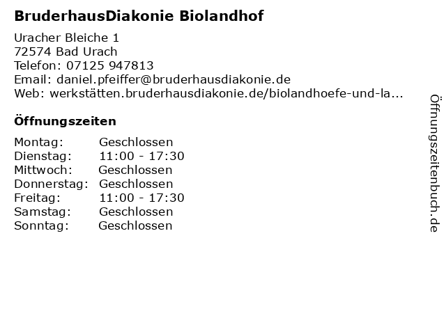 BruderhausDiakonie Biolandhof in Bad Urach: Adresse und Öffnungszeiten