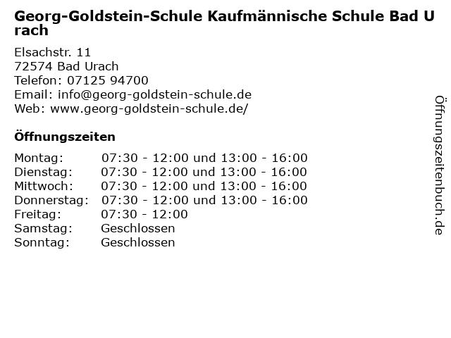 Georg-Goldstein-Schule Kaufmännische Schule Bad Urach in Bad Urach: Adresse und Öffnungszeiten