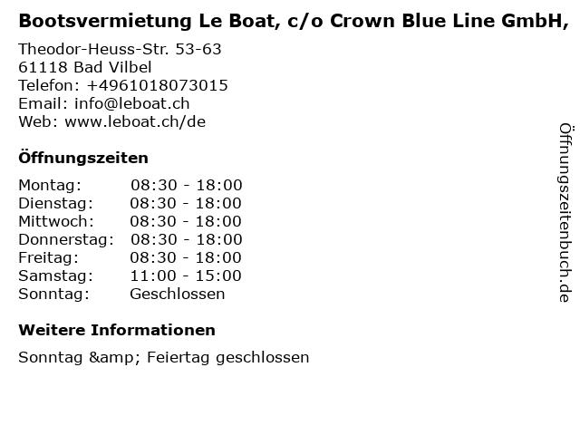Bootsvermietung Le Boat, c/o Crown Blue Line GmbH, in Bad Vilbel: Adresse und Öffnungszeiten