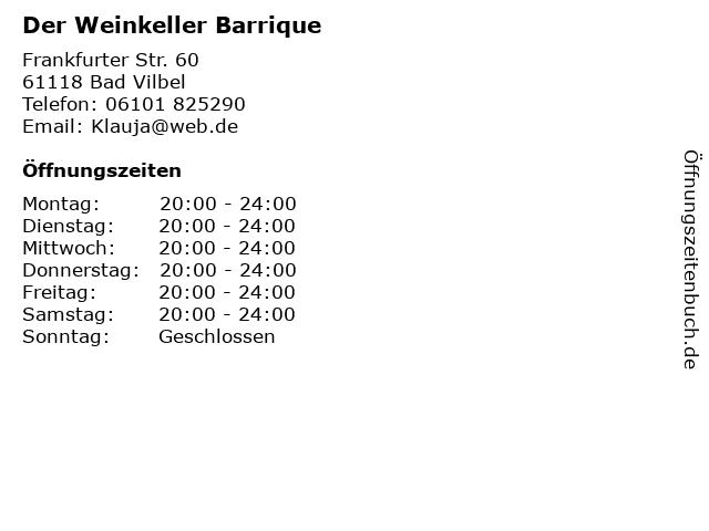 Der Weinkeller Barrique in Bad Vilbel: Adresse und Öffnungszeiten