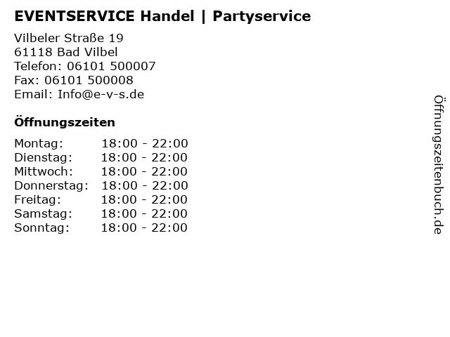 EVENTSERVICE Handel | Partyservice in Bad Vilbel: Adresse und Öffnungszeiten
