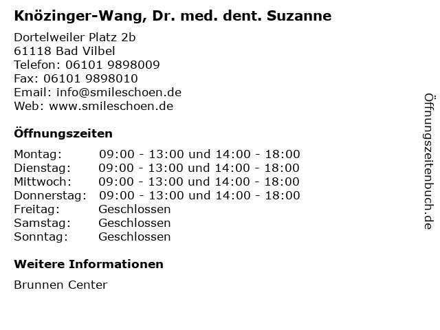 Knözinger-Wang, Dr. med. dent. Suzanne in Bad Vilbel: Adresse und Öffnungszeiten