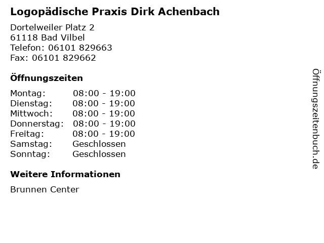 Logopädische Praxis Dirk Achenbach in Bad Vilbel: Adresse und Öffnungszeiten