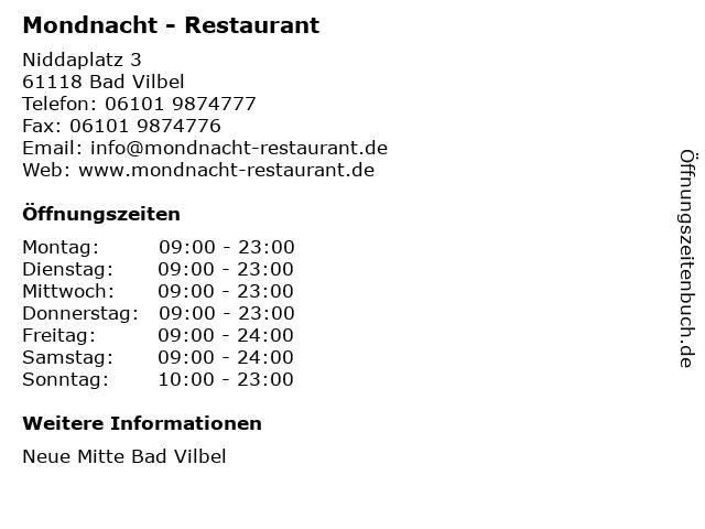 Mondnacht - Restaurant in Bad Vilbel: Adresse und Öffnungszeiten