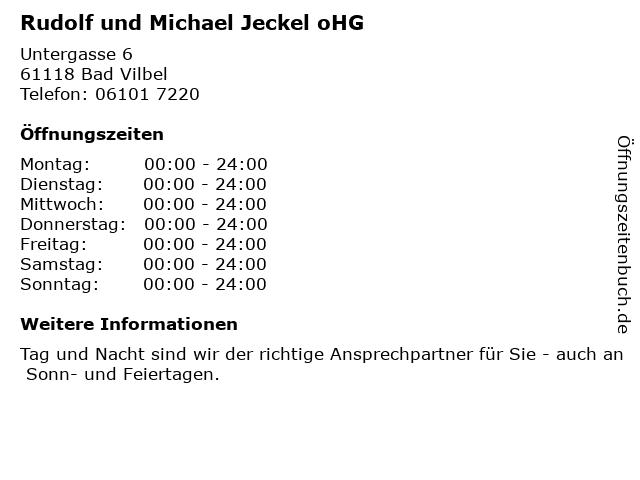 Rudolf und Michael Jeckel oHG in Bad Vilbel: Adresse und Öffnungszeiten