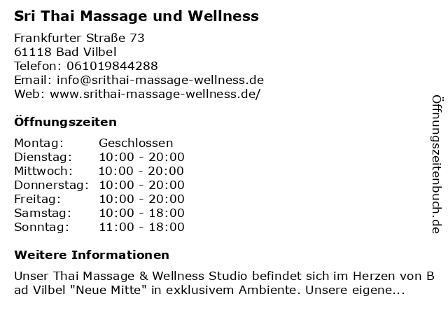 """ᐅ Öffnungszeiten """"Sri Thai Massage und Wellness ..."""
