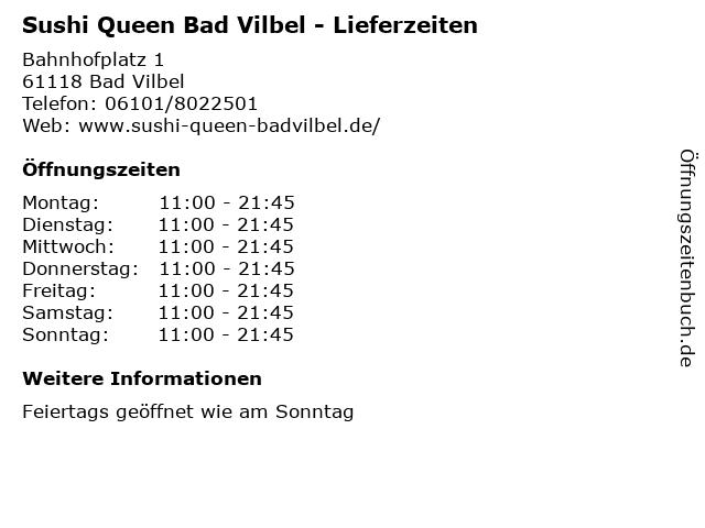 Sushi Queen Bad Vilbel - Lieferzeiten in Bad Vilbel: Adresse und Öffnungszeiten