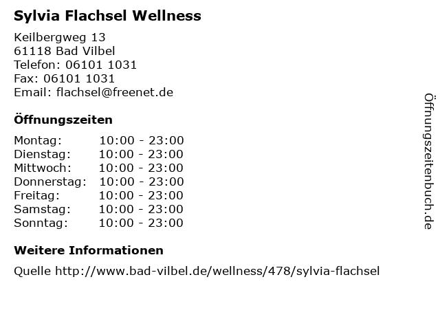 "ᐅ Öffnungszeiten ""Sylvia Flachsel Wellness"" | Keilbergweg ..."