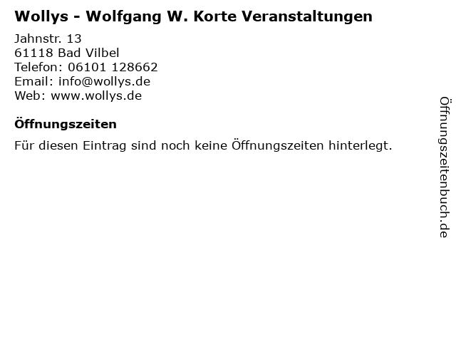 Wolfgang W. Korte Veranstaltungen in Bad Vilbel: Adresse und Öffnungszeiten