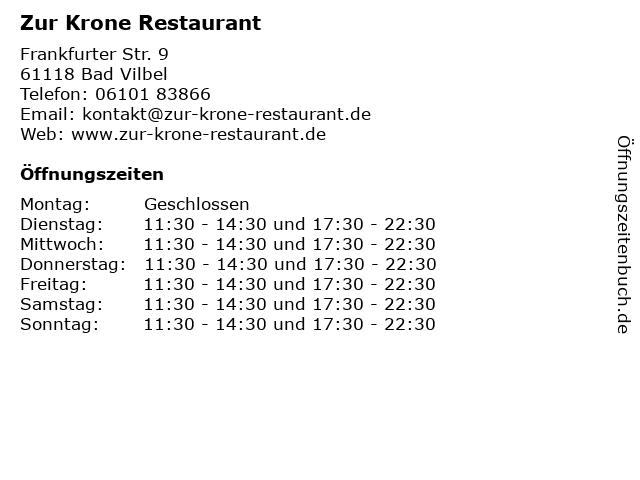 Zur Krone Restaurant in Bad Vilbel: Adresse und Öffnungszeiten