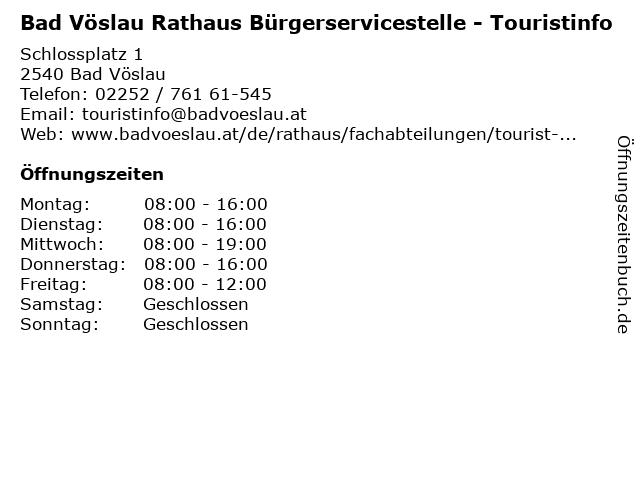 Bad Vöslau Rathaus Bürgerservicestelle - Touristinfo in Bad Vöslau: Adresse und Öffnungszeiten