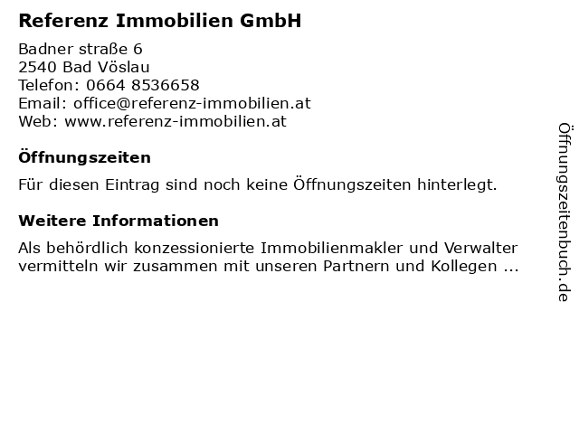 Referenz Immobilien GmbH in Bad Vöslau: Adresse und Öffnungszeiten
