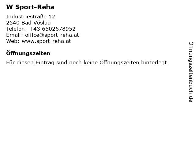 W Sport-Reha in Bad Vöslau: Adresse und Öffnungszeiten