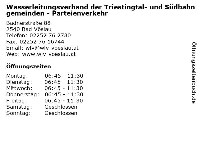Wasserleitungsverband der Triestingtal- und Südbahngemeinden - Parteienverkehr in Bad Vöslau: Adresse und Öffnungszeiten