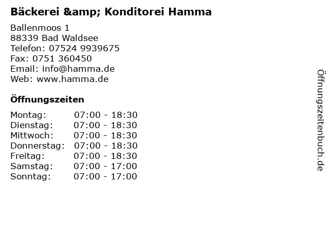 Bäckerei & Konditorei Hamma in Bad Waldsee: Adresse und Öffnungszeiten