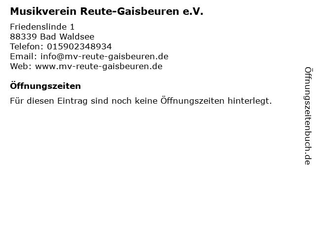 Musikverein Reute-Gaisbeuren e.V. in Bad Waldsee: Adresse und Öffnungszeiten