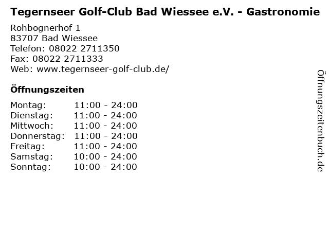 Tegernseer Golf-Club Bad Wiessee e.V. - Gastronomie in Bad Wiessee: Adresse und Öffnungszeiten