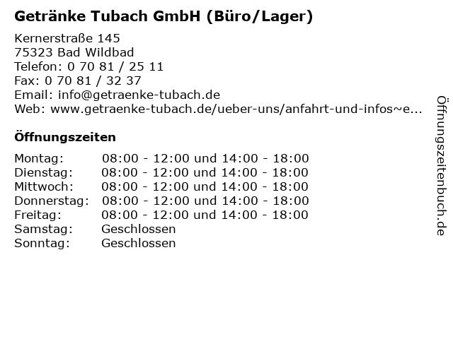 Getränke Tubach GmbH (Büro/Lager) in Bad Wildbad: Adresse und Öffnungszeiten