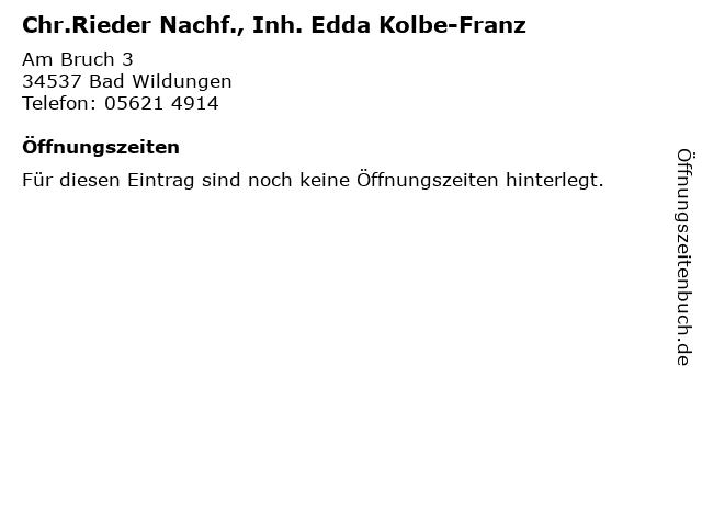 Chr.Rieder Nachf., Inh. Edda Kolbe-Franz in Bad Wildungen: Adresse und Öffnungszeiten