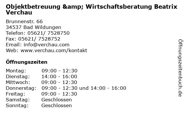 Objektbetreuung & Wirtschaftsberatung Beatrix Verchau in Bad Wildungen: Adresse und Öffnungszeiten