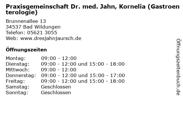 Praxisgemeinschaft Dr. med. Jahn, Kornelia (Gastroenterologie) in Bad Wildungen: Adresse und Öffnungszeiten