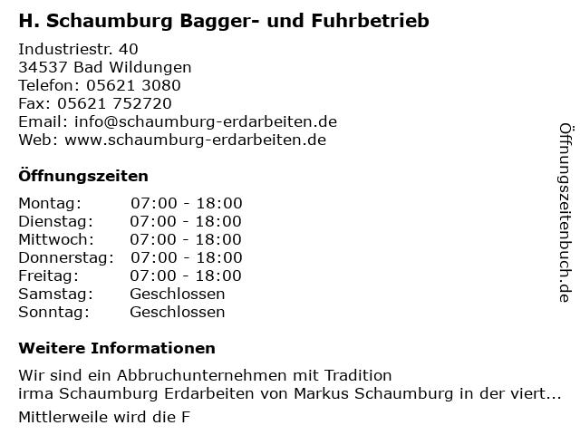 Schaumburg H. Baggerbetrieb in Bad Wildungen: Adresse und Öffnungszeiten