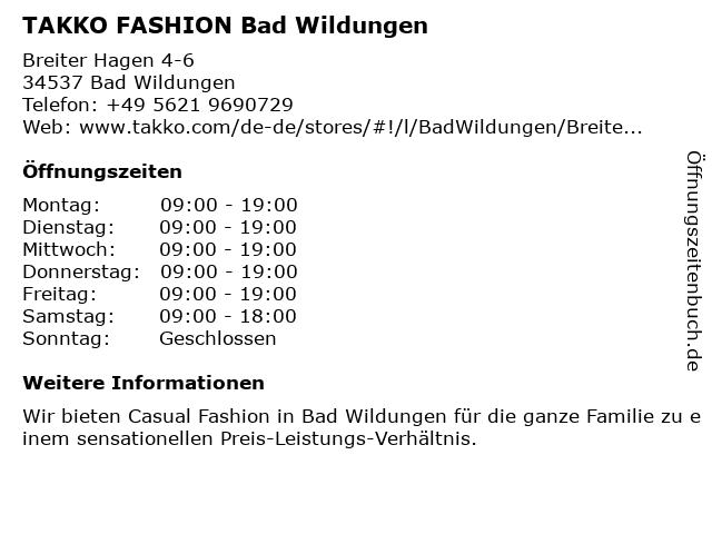Takko Fashion in Bad Wildungen: Adresse und Öffnungszeiten
