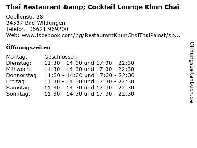 Thai Restaurant & Cocktail Lounge Khun Chai in Bad Wildungen: Adresse und Öffnungszeiten