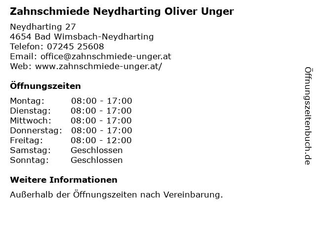 Zahnschmiede Neydharting Oliver Unger in Bad Wimsbach-Neydharting: Adresse und Öffnungszeiten