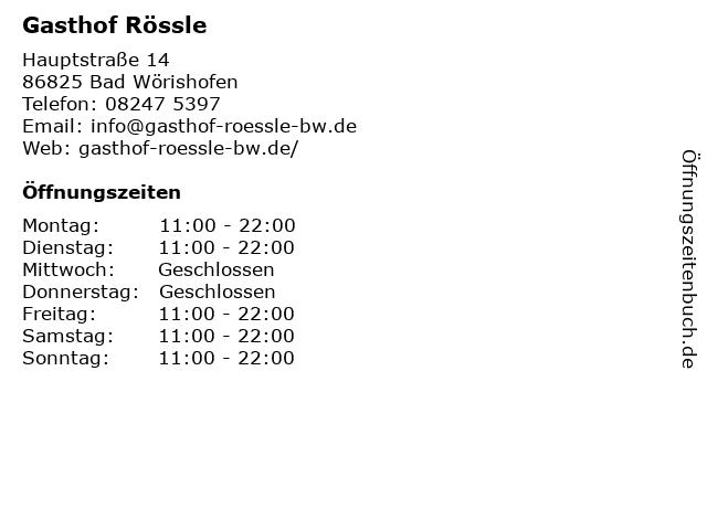 Gasthof Rössle in Bad Wörishofen: Adresse und Öffnungszeiten