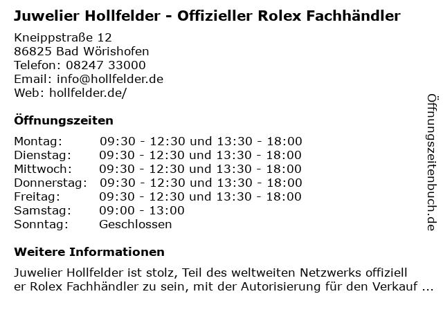 Juwelier Hollfelder in Bad Wörishofen: Adresse und Öffnungszeiten