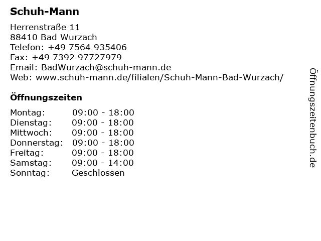 Schuh-Mann in Bad Wurzach: Adresse und Öffnungszeiten