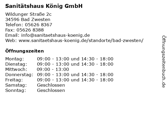 Sanitätshaus König GmbH in Bad Zwesten: Adresse und Öffnungszeiten