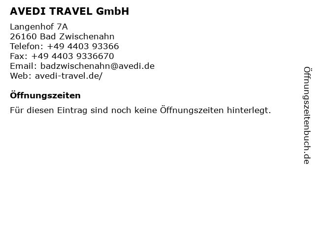 AVEDI TRAVEL GmbH - Am Langenhof Lufthansa City Center in Bad Zwischenahn: Adresse und Öffnungszeiten
