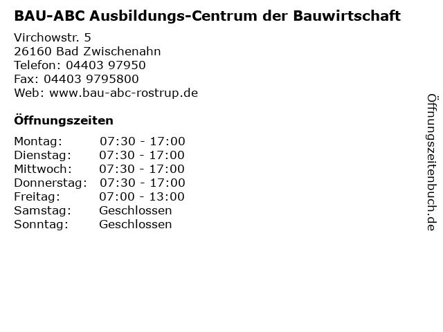 BAU-ABC Ausbildungs-Centrum der Bauwirtschaft in Bad Zwischenahn: Adresse und Öffnungszeiten