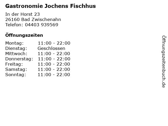 Gastronomie Jochens Fischhus in Bad Zwischenahn: Adresse und Öffnungszeiten