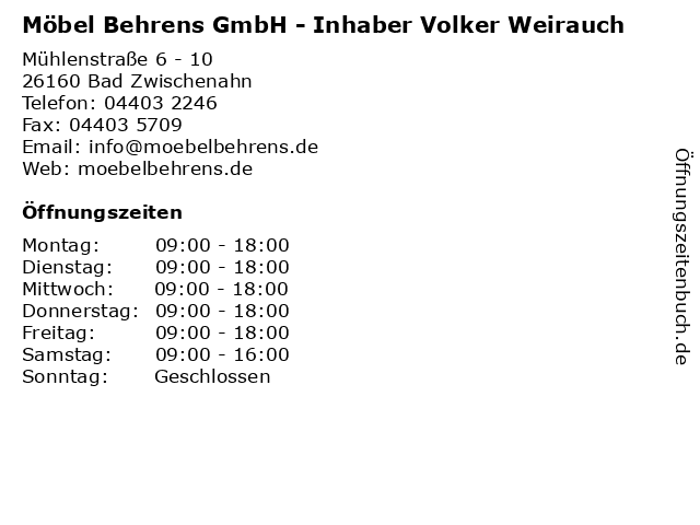 ᐅ Offnungszeiten Mobel Behrens Gmbh Inhaber Volker Weirauch