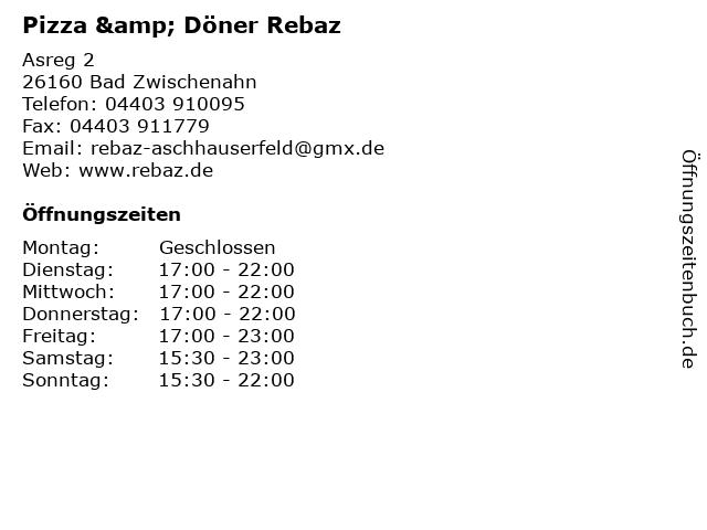 Pizza & Döner Rebaz in Bad Zwischenahn: Adresse und Öffnungszeiten