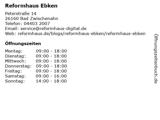 Reformhaus Ebken in Bad Zwischenahn: Adresse und Öffnungszeiten