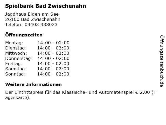 Spielbank Bad Zwischenahn in Bad Zwischenahn: Adresse und Öffnungszeiten