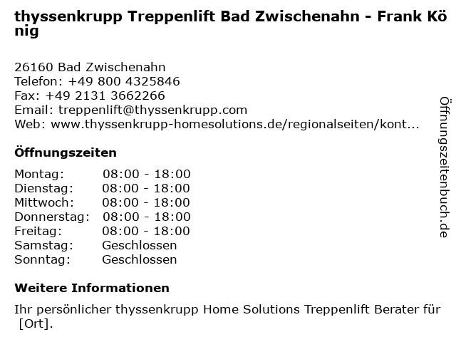 ᐅ Offnungszeiten Thyssenkrupp Treppenlift Bad Zwischenahn Frank Konig In Bad Zwischenahn