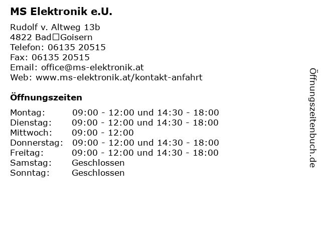 MS Elektronik e.U. in BadGoisern: Adresse und Öffnungszeiten