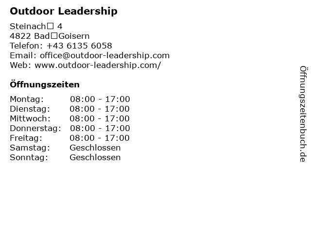 Outdoor Leadership in BadGoisern: Adresse und Öffnungszeiten